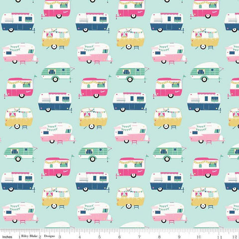 I'd Rather Be Glamping Campers Light Mint - Riley Blake Designs - Green Camping Trailers  - Quilting Cotton Fabric