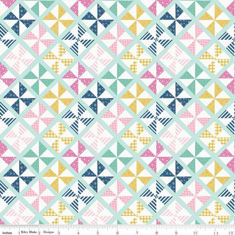I'd Rather Be Glamping Pinwheels Light Mint - Riley Blake Designs - Camping Green Diagnoal  - Quilting Cotton Fabric