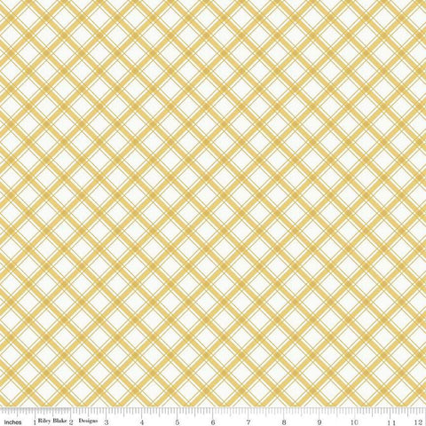 I'd Rather Be Glamping Plaid Yellow - Riley Blake Designs - Camping Diagnoal Yellow on Cream - Quilting Cotton Fabric