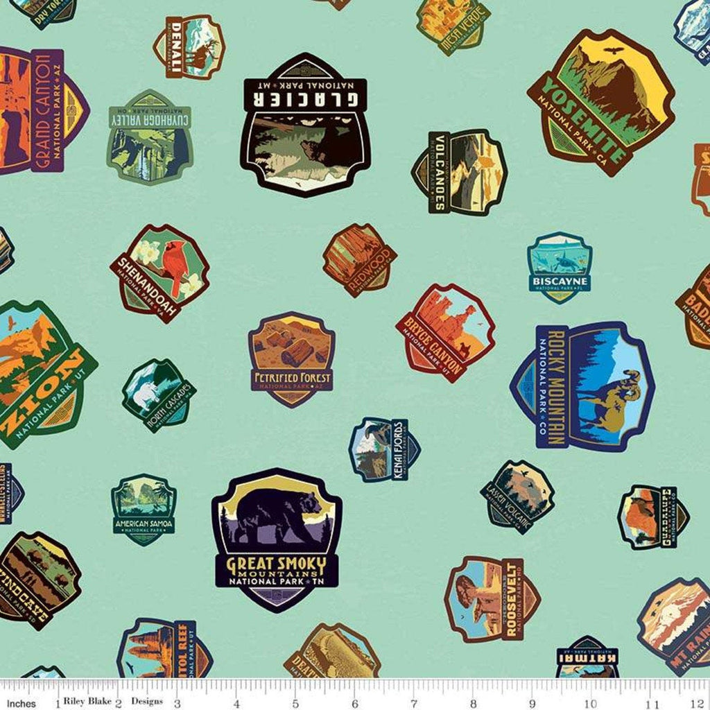 SALE National Parks Patches Sea Green - Riley Blake Designs - Outdoors Recreation - Quilting Cotton Fabric