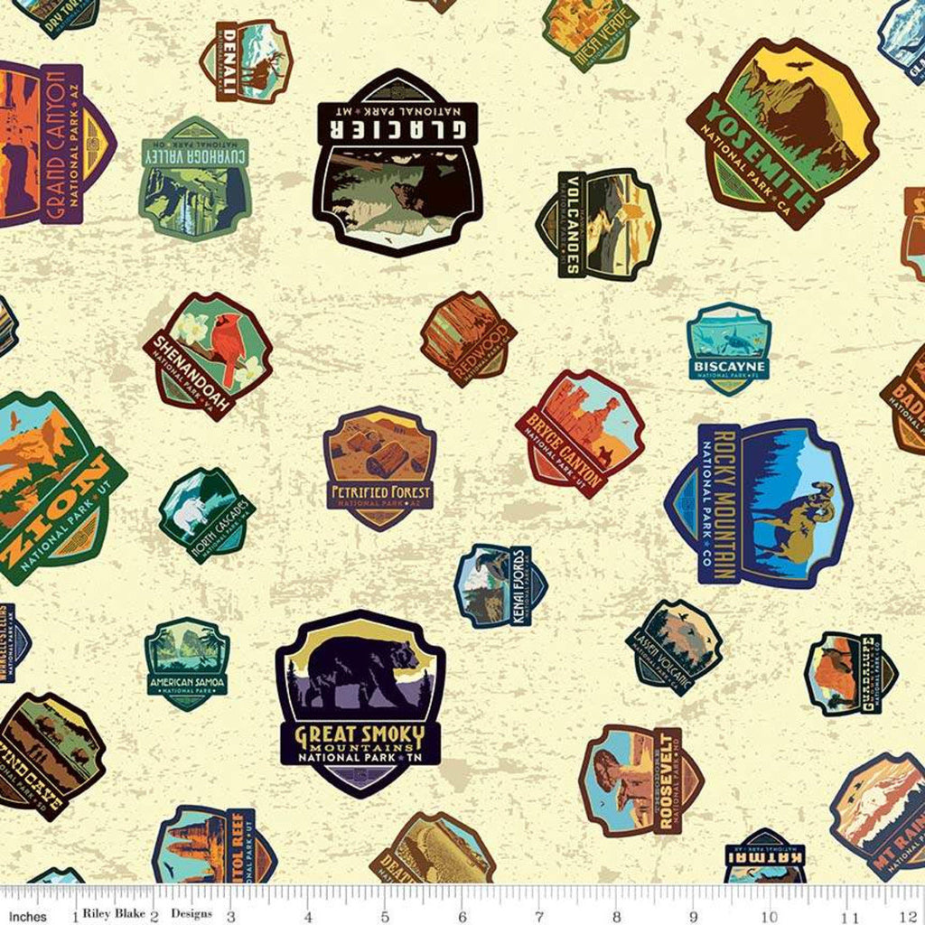 SALE National Parks Patches Cream - Riley Blake Designs - Recreation Outdoors - Quilting Cotton Fabric