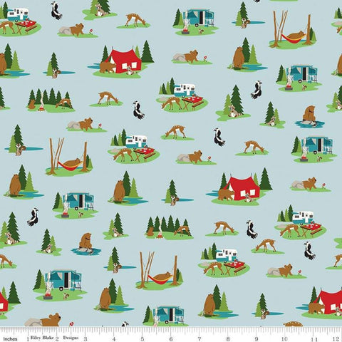 Gone Camping Site Aqua - Riley Blake Designs - Blue Tents Campers Outdoors Wildlife - Quilting Cotton Fabric
