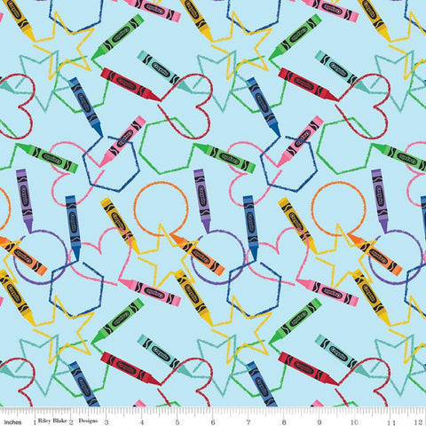 I Dream in Color Main Blue - Riley Blake Designs - Crayola Crayons Coloring Shapes - Quilting Cotton Fabric - 28 inch end of bolt piece