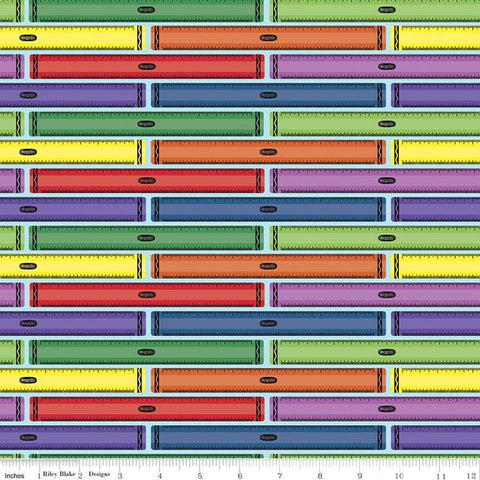 I Dream in Color Ruler Blue - Riley Blake Designs - Crayola Crayons Stripes Striped - Quilting Cotton Fabric