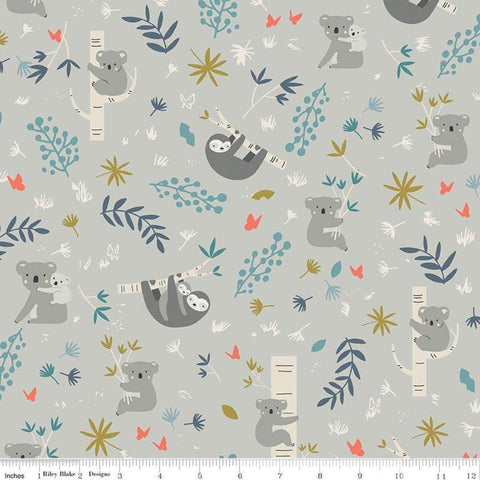 Joey Main Gray - Riley Blake Designs - Australia Koalas Sloths - Quilting Cotton Fabric - choose your cut