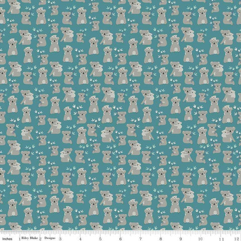 Joey Koalas Teal - Riley Blake Designs - Australia Blue Green - Quilting Cotton Fabric