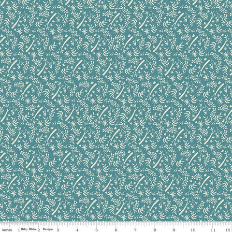 Joey Branches Teal - Riley Blake Designs - Australia Floral Leaves Blue Green - Quilting Cotton Fabric- end of bolt pieces
