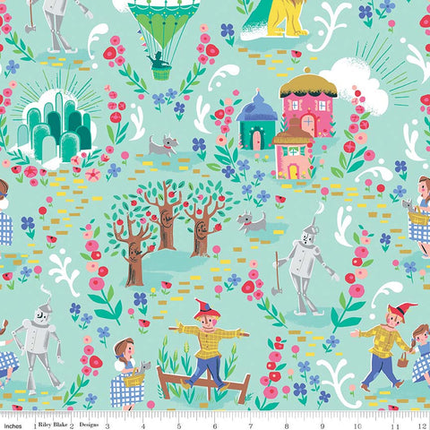 SALE Dorothy's Journey Main Mint SPARKLE - Riley Blake Designs - Green Wizard of Oz Silver Sparkle Quilting Cotton Fabric