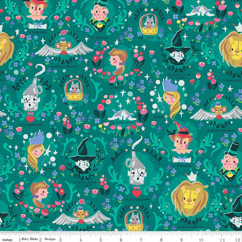 Dorothy's Journey Vignette Emerald SPARKLE - Riley Blake Designs - Wizard of Oz Silver Sparkle Quilting Cotton Fabric