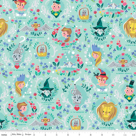 SALE Dorothy's Journey Vignette Mint SPARKLE - Riley Blake Designs - Wizard of Oz Silver Sparkle Quilting Cotton Fabric