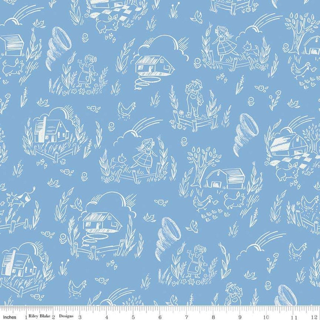 Dorothy's Journey Kansas Blue - Riley Blake Designs - Wizard of Oz Tornado Farmhouse Auntie Em Quilting Cotton Fabric