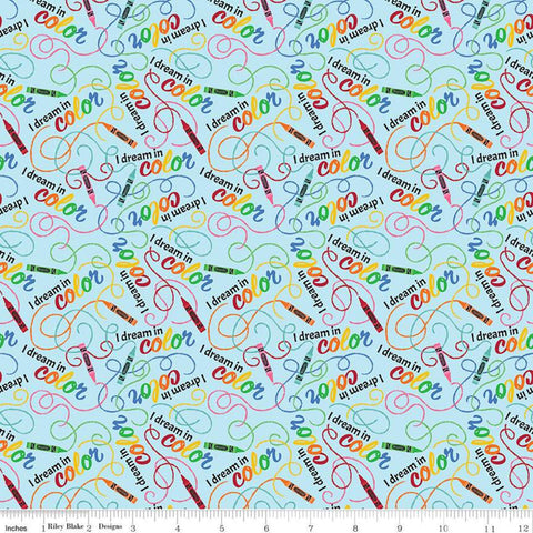 I Dream in Color Toss Blue - Riley Blake Designs - Crayola Crayons Swirls Text - Quilting Cotton Fabric - fat quarter