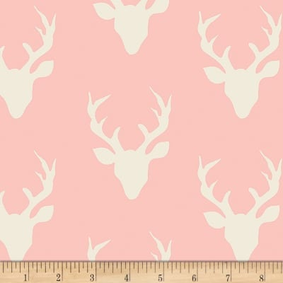 Hello Bear Buck Forest Pink - Art Gallery - Deer Head Antlers - Jersey KNIT cotton lycra stretch fabric