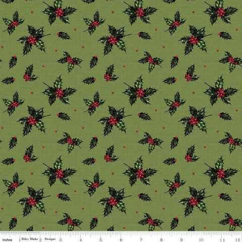SALE Christmas Memories Holly Green - Riley Blake Designs - Floral Berries Red Green  - Quilting Cotton Fabric
