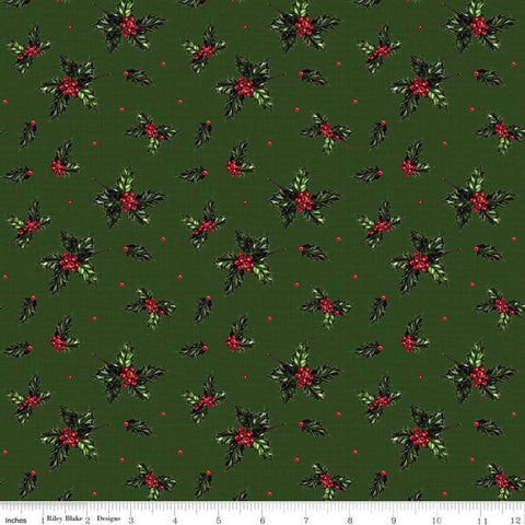 SALE Christmas Memories Holly Forest - Riley Blake Designs - Floral Berries Red Green  - Quilting Cotton Fabric