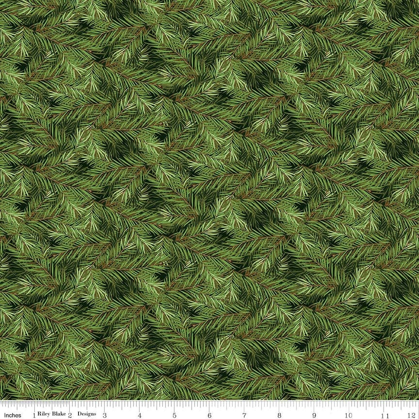 Christmas Memories Pine Branches Dark Green - Riley Blake Designs - Floral Trees  - Quilting Cotton Fabric
