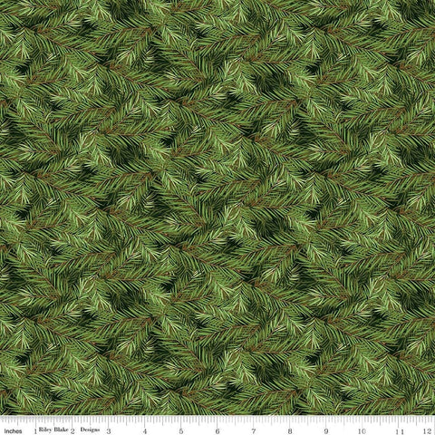 SALE Christmas Memories Pine Branches Dark Green - Riley Blake Designs - Floral Trees  - Quilting Cotton Fabric