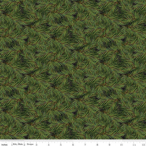 SALE Christmas Memories Pine Branches Black - Riley Blake Designs - Green Floral Trees  - Quilting Cotton Fabric