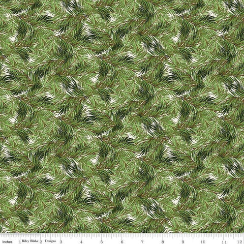 SALE Christmas Memories Pine Branches Cream - Riley Blake Designs - Green Floral Trees  - Quilting Cotton Fabric