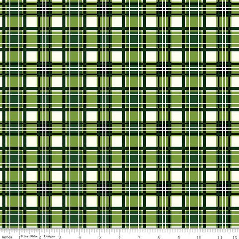 SALE Christmas Memories Plaid Green - Riley Blake Designs - Green Cream Plaid  - Quilting Cotton Fabric