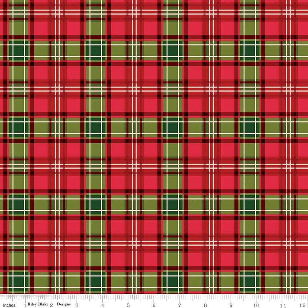 SALE Christmas Memories Plaid Multi - Riley Blake Designs - Red Green Cream Plaid  - Quilting Cotton Fabric