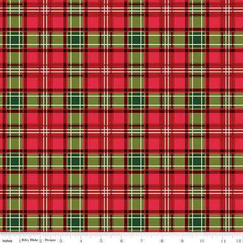 Christmas Memories Plaid Multi - Riley Blake Designs - Red Green Cream Plaid  - Quilting Cotton Fabric