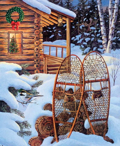 Christmas Memories Evening Solitude Panel by Riley Blake Designs - Winter Snowshoes Cabin - Quilting Cotton Fabric