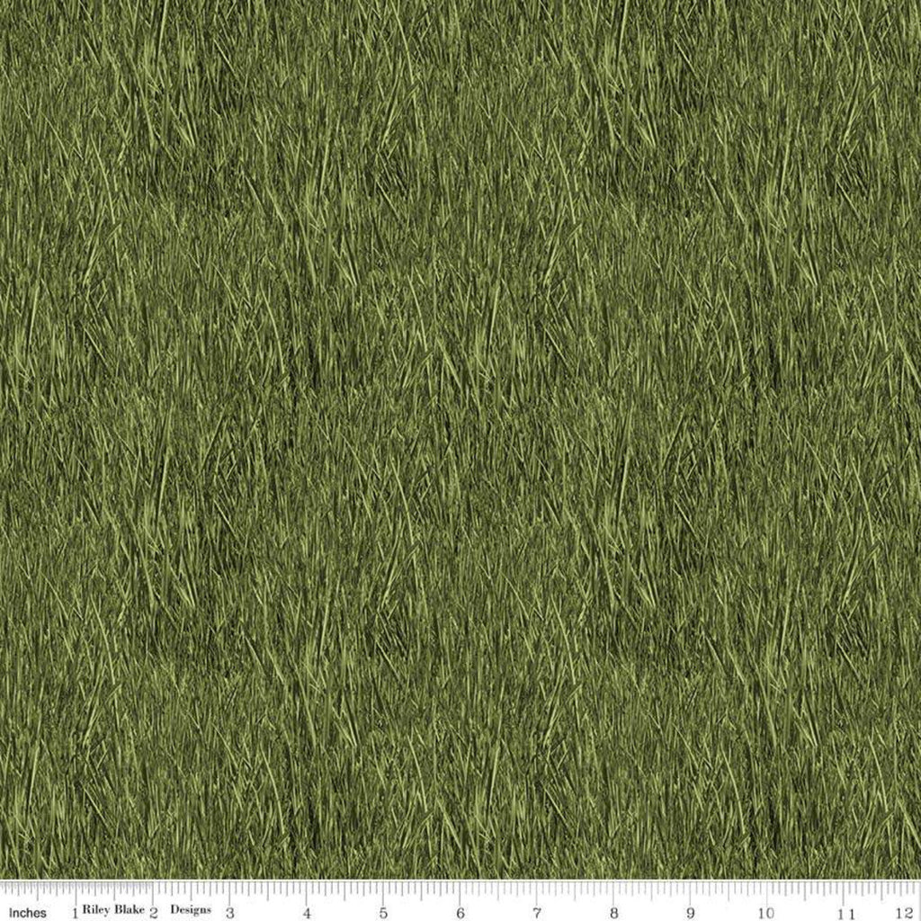 SALE Fish and Fowl Reeds Green - Riley Blake Designs - Outdoors Fishing Birds Plants  - Quilting Cotton Fabric