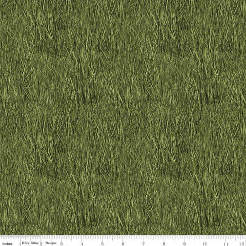 Fish and Fowl Reeds Green - Riley Blake Designs - Outdoors Fishing Birds Plants  - Quilting Cotton Fabric