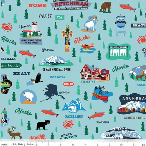 Northwest Alaska Main Aqua - Riley Blake Designs - Blue Alaskan Towns Landmarks - Quilting Cotton Fabric