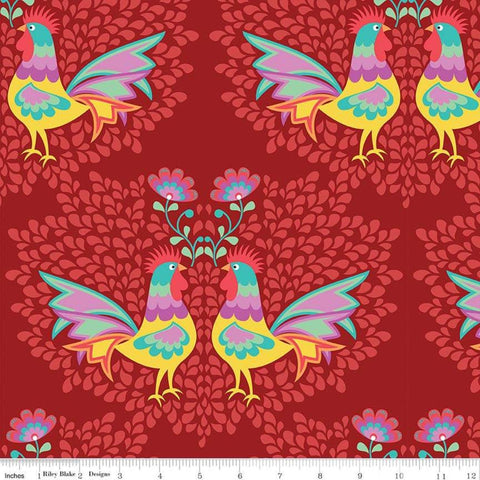 Lucy's Garden Main Red - Riley Blake Designs - Birds Roosters Chickens - Quilting Cotton Fabric