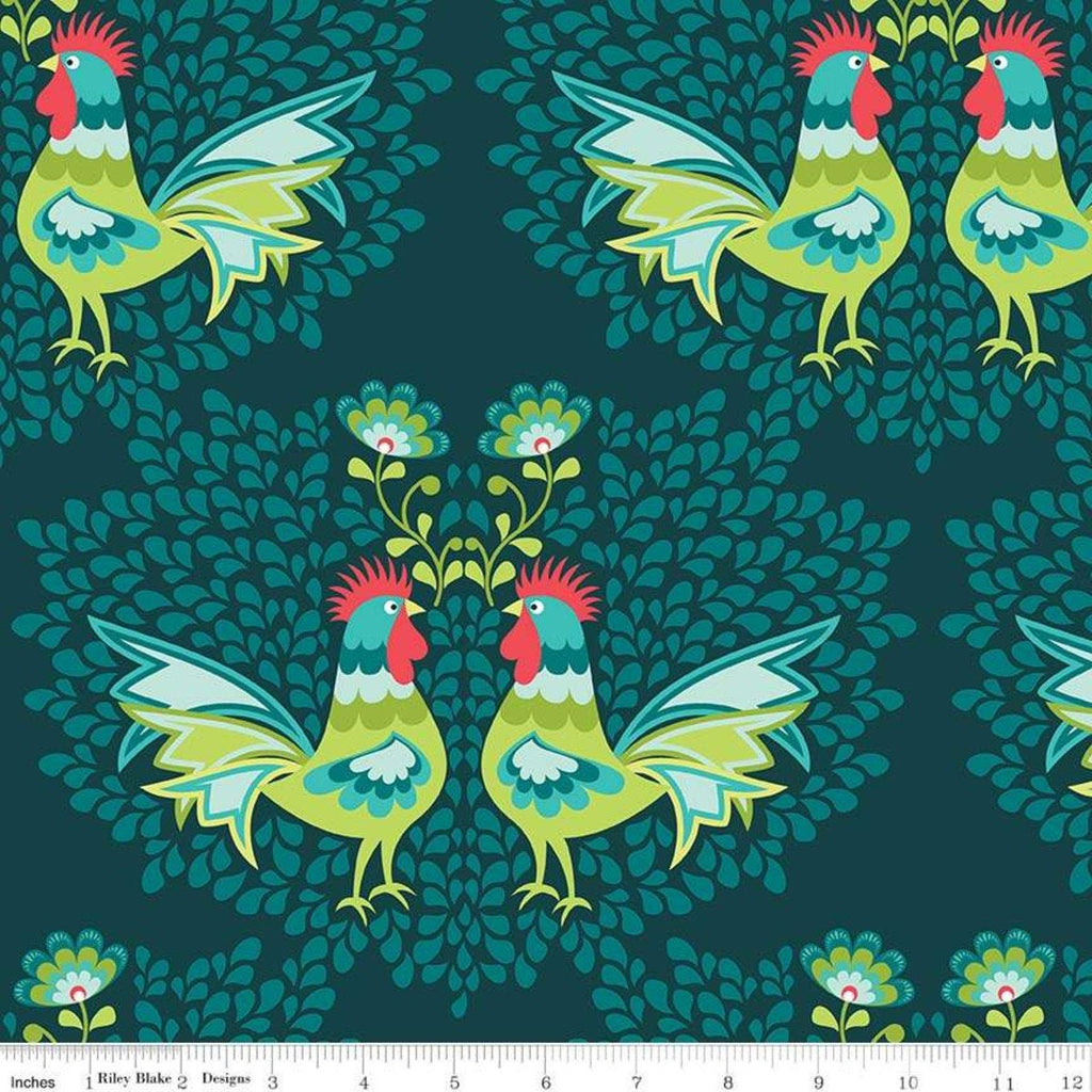 Lucy's Garden Main Teal - Riley Blake Designs - Blue Green Birds Roosters Chickens - Quilting Cotton Fabric