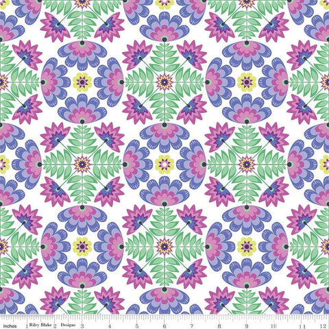 Lucy's Garden Tile Purple - Riley Blake Designs - Symmetrical Floral Flowers on White - Quilting Cotton Fabric