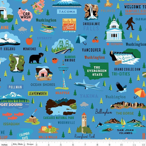 Northwest Washington Blue - Riley Blake Designs - Towns Landmarks - Quilting Cotton Fabric