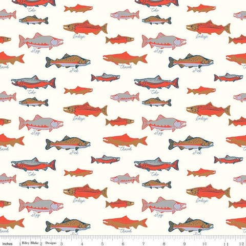 Northwest Salmon Cloud - Riley Blake Designs - White Alaska Washington Fish Ocean Outdoors - Quilting Cotton Fabric
