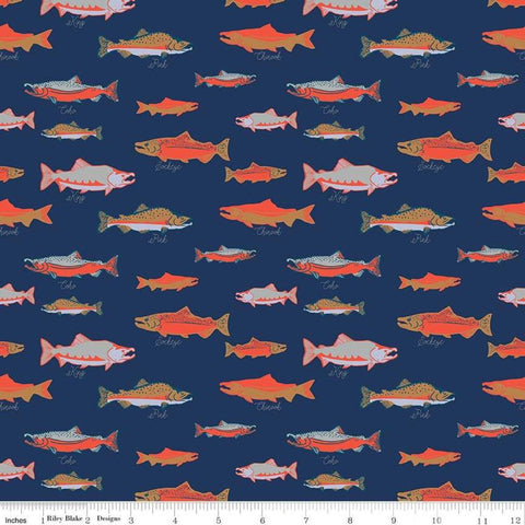 Northwest Salmon Navy - Riley Blake Designs - Blue Alaska Washington Fish Ocean Outdoors - Quilting Cotton Fabric