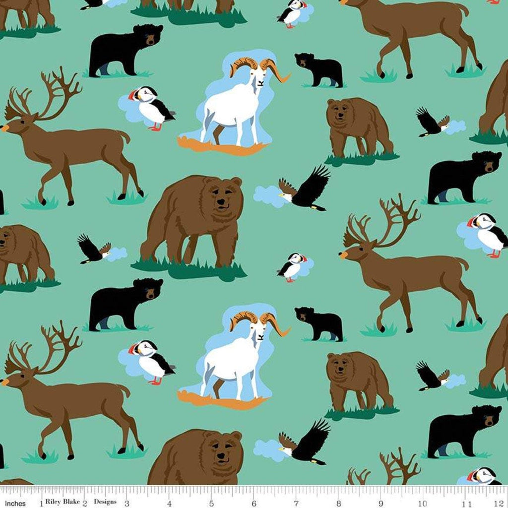 Northwest Wildlife Seafoam - Riley Blake Designs - Green Alaska Washington Bears Deer Goats  - Quilting Cotton Fabric