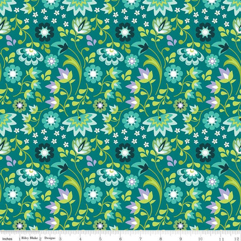 Lucy's Garden Floral Teal - Riley Blake Designs - Blue Green Flowers Floral - Quilting Cotton Fabric