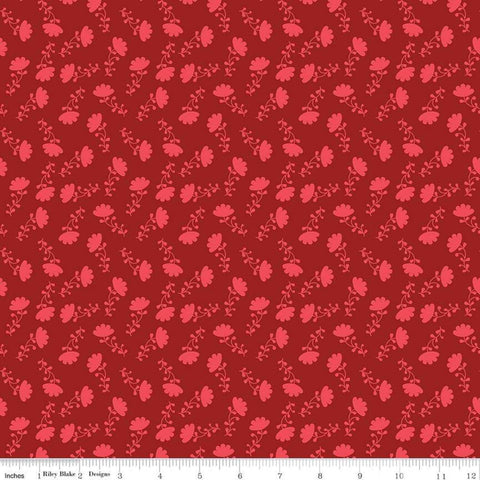 Lucy's Garden Tonal Red - Riley Blake Designs - Tone on Tone Flowers Floral - Quilting Cotton Fabric