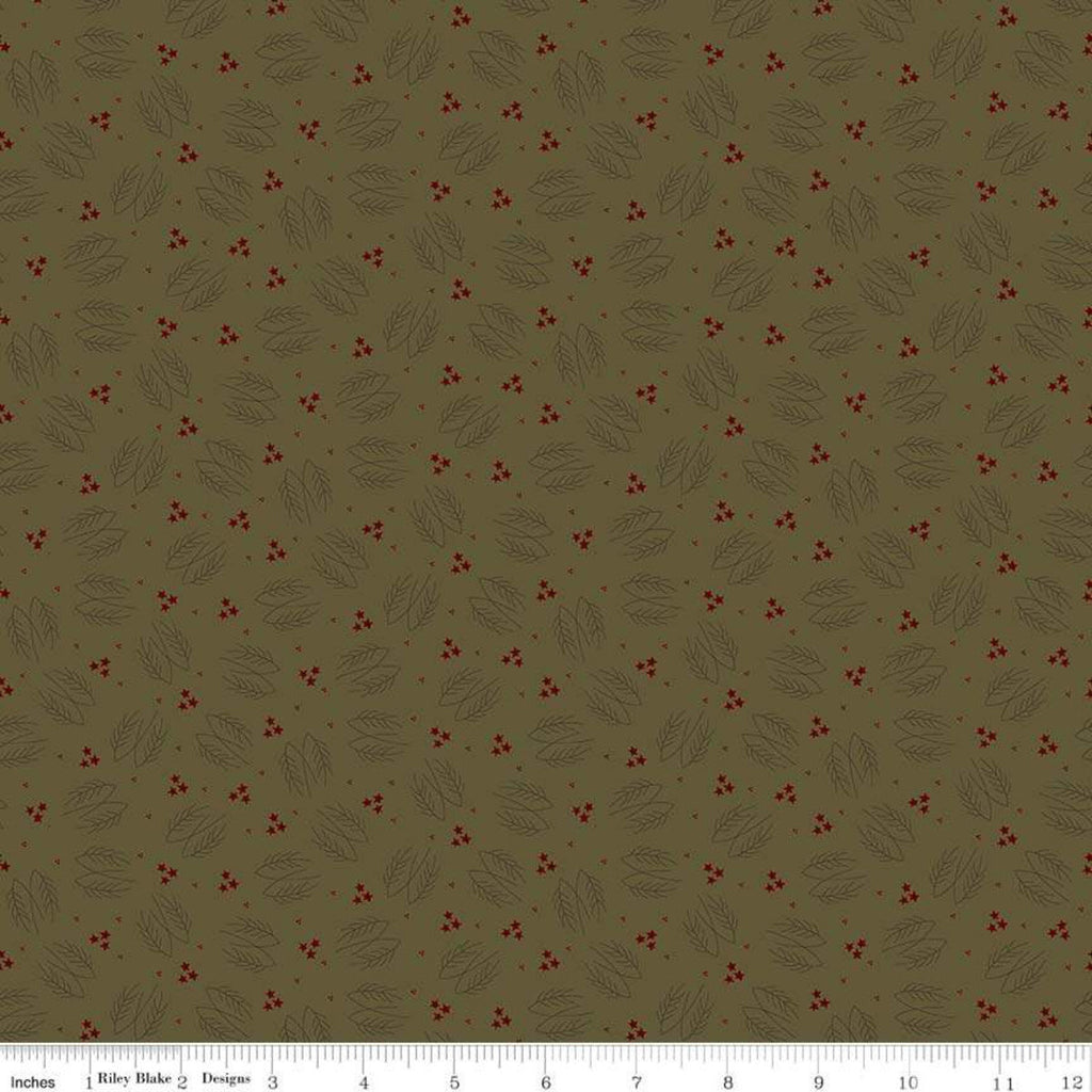 Lumberjack Aaron Evergreen Branches Green - Riley Blake Designs -  Tree Branches Stars Outdoors - Quilting Cotton Fabric