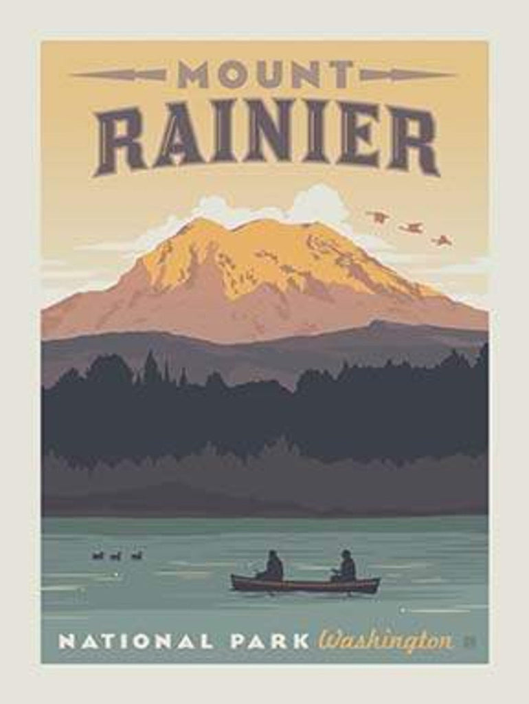 National Parks Poster Panel Mount Rainier by Riley Blake Designs - Outdoors Recreation Washington - Quilting Cotton Fabric