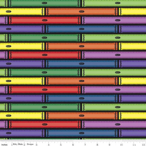 I Dream in Color Ruler Black - Riley Blake Designs - Crayola Crayons Stripes Striped - Quilting Cotton Fabric