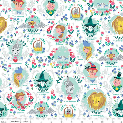 Dorothy's Journey Vignette White SPARKLE - Riley Blake Designs - Wizard of Oz Silver Sparkle Quilting Cotton Fabric