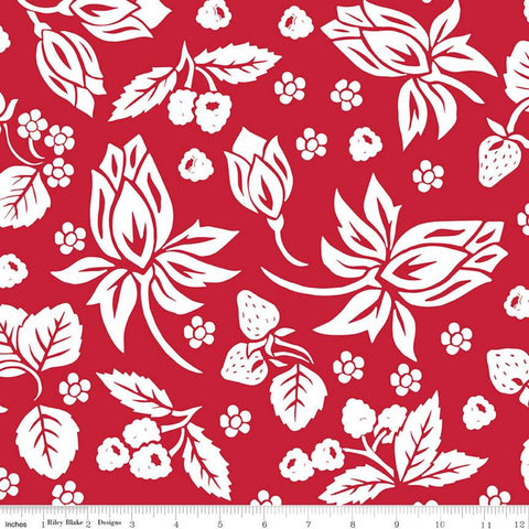 It's the Berries Main Red - Riley Blake Designs - Red White  Floral - Quilting Cotton Fabric - choose your cut