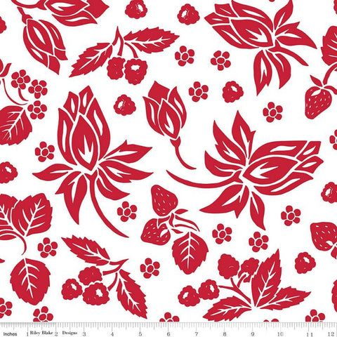 It's the Berries Main White - Riley Blake Designs - Red White  Floral - Quilting Cotton Fabric - choose your cut