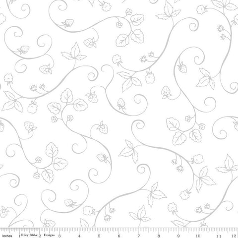 It's the Berries Vine Gray - Riley Blake Designs - White Tone on Tone Floral Flowers - Quilting Cotton Fabric - choose your cut