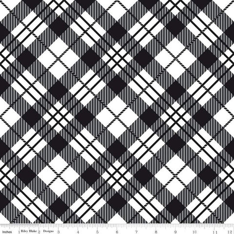 It's the Berries Plaid Black - Riley Blake Designs - Black White Diagonal Plaid - Quilting Cotton Fabric - choose your cut