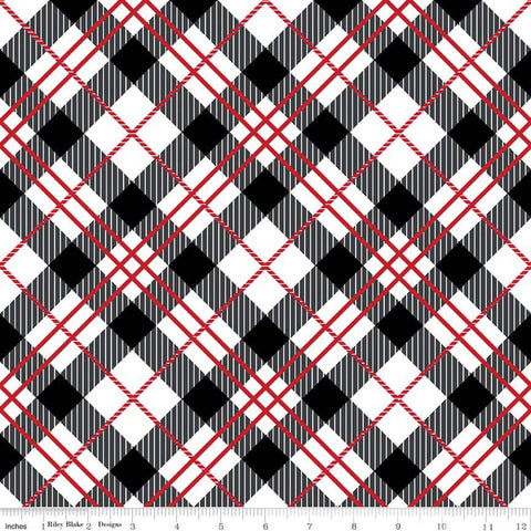 SALE It's the Berries Plaid Multi - Riley Blake Designs - Black Red White Diagonal Plaid - Quilting Cotton Fabric - choose your cut