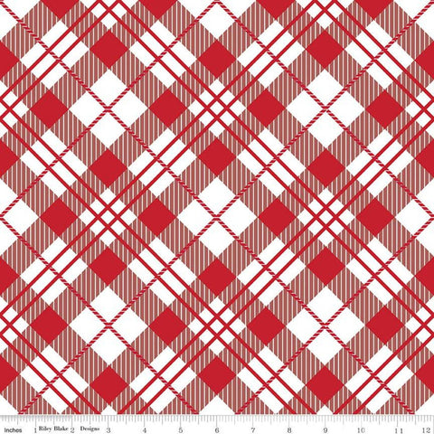 It's the Berries Plaid Red - Riley Blake Designs - Black Red White Diagonal Plaid - Quilting Cotton Fabric - choose your cut