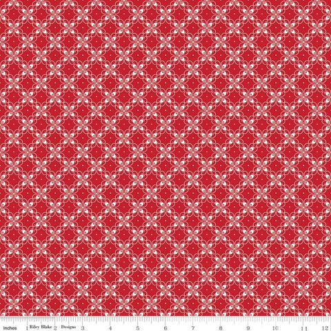 It's the Berries Tile Red - Riley Blake Designs - Red White Diagonal - Quilting Cotton Fabric - choose your cut